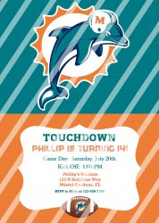 Miami Dolphins Personalized Digital Party Invitation #11 (any occasion)