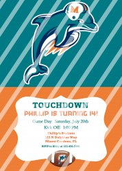Miami Dolphins Personalized Digital Party Invitation #12 (any occasion)