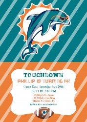 Miami Dolphins Personalized Digital Party Invitation #13 (any occasion)