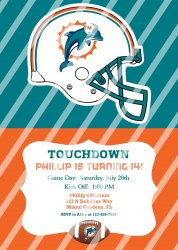 Miami Dolphins Personalized Digital Party Invitation #16 (any occasion)
