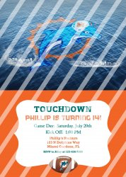 Miami Dolphins Personalized Digital Party Invitation #18 (any occasion)