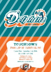 Miami Dolphins Personalized Digital Party Invitation #21 (any occasion)