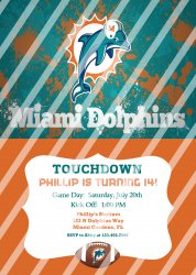 Miami Dolphins Personalized Digital Party Invitation #27 (any occasion)