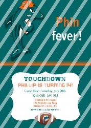 Miami Dolphins Personalized Digital Party Invitation #28 (any occasion)