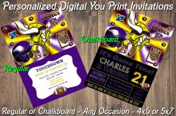 Minnesota Vikings Personalized Digital Party Invitation #1 Regular or Chalkboard
