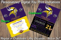 Minnesota Vikings Personalized Digital Party Invitation #2 Regular or Chalkboard