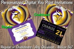 Minnesota Vikings Personalized Digital Party Invitation #3 Regular or Chalkboard