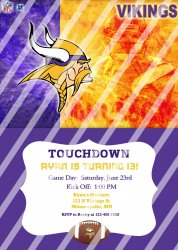 Minnesota Vikings Personalized Digital Party Invitation #12 (any occasion)