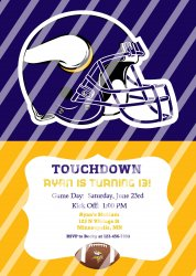 Minnesota Vikings Personalized Digital Party Invitation #16 (any occasion)