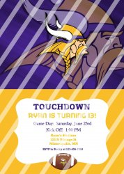 Minnesota Vikings Personalized Digital Party Invitation #28 (any occasion)