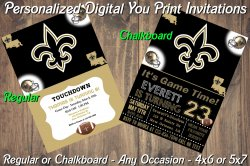 New Orleans Saints Digital Party Invitation #1 (Regular or Chalkboard)
