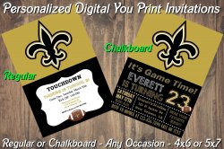 New Orleans Saints Digital Party Invitation #2 (Regular or Chalkboard)