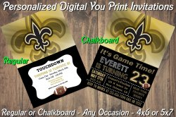 New Orleans Saints Digital Party Invitation #3 (Regular or Chalkboard)