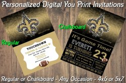 New Orleans Saints Digital Party Invitation #5 (Regular or Chalkboard)