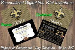 New Orleans Saints Digital Party Invitation #6 (Regular or Chalkboard)