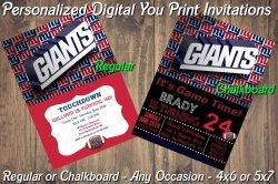 New York Giants Personalized Digital Party Invitation #1 (Regular or Chalkboard)