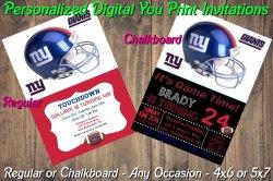New York Giants Personalized Digital Party Invitation #2 (Regular or Chalkboard)