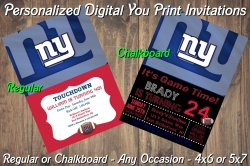New York Giants Personalized Digital Party Invitation #10 Regular or Chalkboard