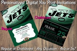 New York Jets Personalized Digital Party Invitation #1 (Regular or Chalkboard)