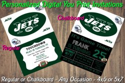 New York Jets Personalized Digital Party Invitation #2 (Regular or Chalkboard)
