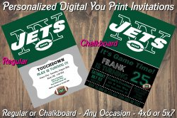 New York Jets Personalized Digital Party Invitation #3 (Regular or Chalkboard)