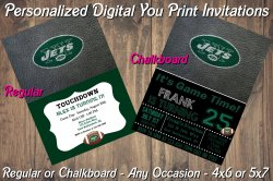 New York Jets Personalized Digital Party Invitation #5 (Regular or Chalkboard)