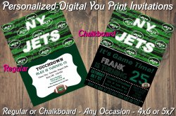 New York Jets Personalized Digital Party Invitation #9 (Regular or Chalkboard)