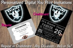 Oakland Raiders Personalized Digital Party Invitation #1 (Regular or Chalkboard)