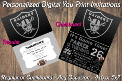 Oakland Raiders Personalized Digital Party Invitation #2 (Regular or Chalkboard)
