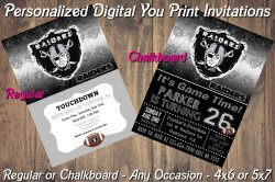 Oakland Raiders Personalized Digital Party Invitation #10 Regular or Chalkboard