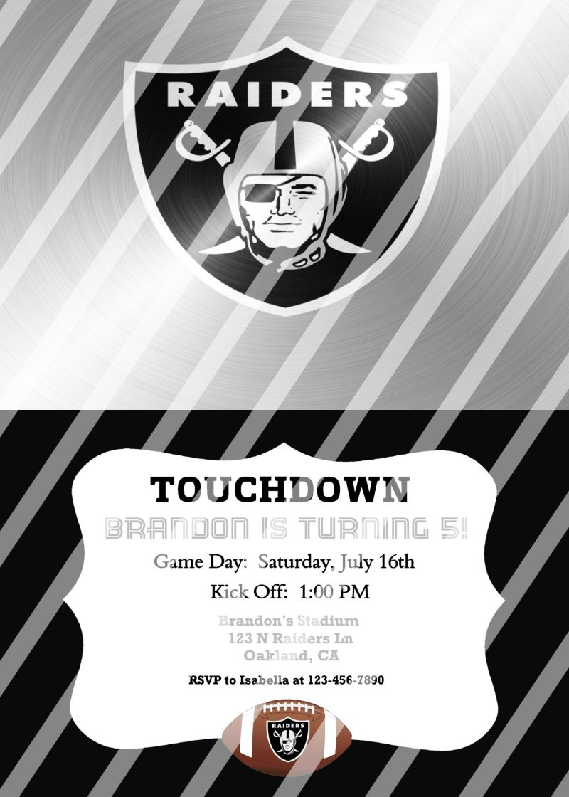 Oakland Raiders Personalized Digital Party Invitation 28 Any Occasion
