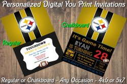 Pittsburgh Steelers Digital Party Invitation #1 (Regular or Chalkboard)