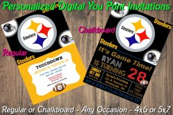 Pittsburgh Steelers Digital Party Invitation #3 (Regular or Chalkboard)