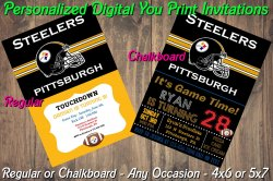 Pittsburgh Steelers Digital Party Invitation #4 (Regular or Chalkboard)