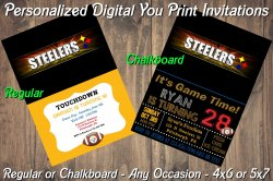 Pittsburgh Steelers Digital Party Invitation #5 (Regular or Chalkboard)