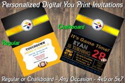 Pittsburgh Steelers Digital Party Invitation #6 (Regular or Chalkboard)