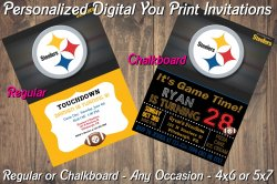 Pittsburgh Steelers Digital Party Invitation #7 (Regular or Chalkboard)