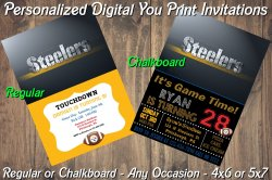 Pittsburgh Steelers Digital Party Invitation #8 (Regular or Chalkboard)