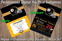 Pittsburgh Steelers Digital Party Invitation #9 (Regular or Chalkboard)