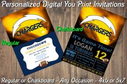 San Diego Chargers Digital Party Invitation #1 (Regular or Chalkboard)