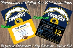 San Diego Chargers Digital Party Invitation #3 (Regular or Chalkboard)