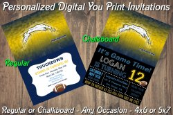 San Diego Chargers Digital Party Invitation #4 (Regular or Chalkboard)