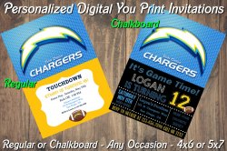 San Diego Chargers Digital Party Invitation #5 (Regular or Chalkboard)