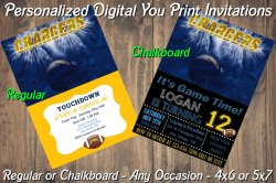San Diego Chargers Digital Party Invitation #6 (Regular or Chalkboard)