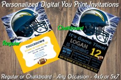 San Diego Chargers Digital Party Invitation #8 (Regular or Chalkboard)