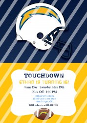 San Diego Chargers Personalized Digital Party Invitation #14 (any occasion)