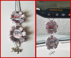 Diabetes Awareness Ribbon Rear View Mirror Charm #F7F13 (choose images,colors)