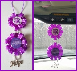 Alzheimers Awareness Ribbon Rear View Mirror Charm D13A11 (choose images,colors)
