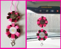 Coffee Ribbon Rear View Mirror Charm #A14A6 (choose images, colors)