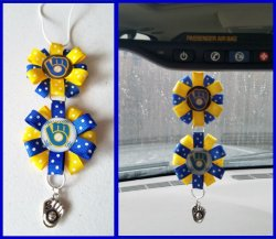 Milwaukee Brewers Ribbon Rear View Mirror Charm #A9C2 (choose images, colors)